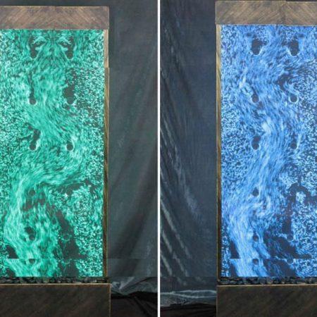 panel decoración con burbujas verde y azul