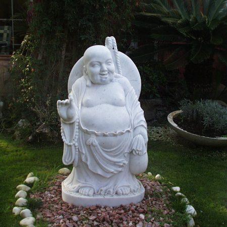 Estatua buda blanco mármol jardín