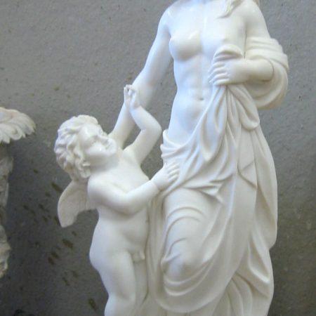 estatua mármol para jardín madre e hijo